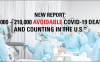 "New Report: ""130,000 – 210,000 Avoidable COVID-19 Deaths - and Counting in the U.S."""